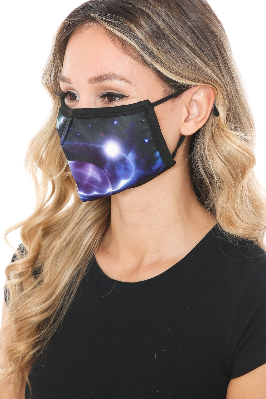 Left side view of Galactic Flare Graphic Print Face Mask