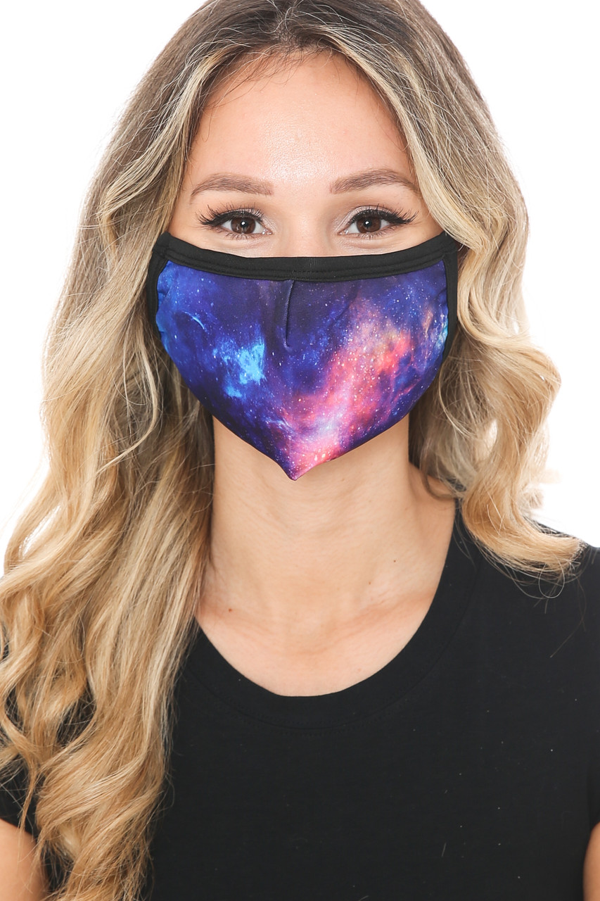 Front view of Nebula Galaxy Graphic Print Face Mask featuring a gorgeous blue, purple, and pink space design.