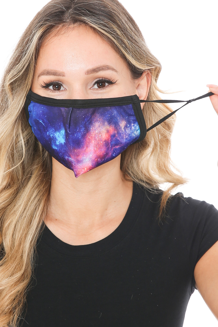 Front view of Nebula Galaxy Graphic Print Face Mask with adjustable ear strings.