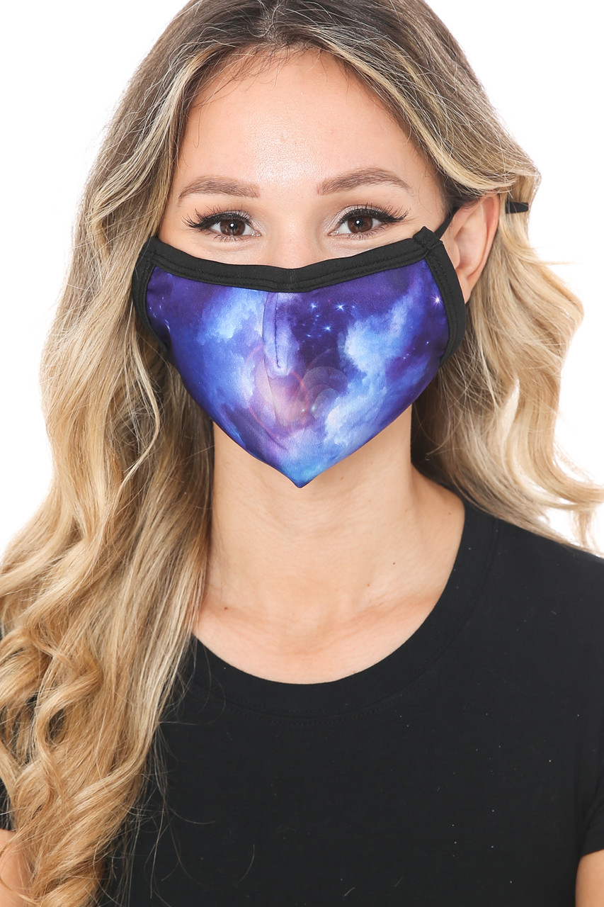 Front view of Sapphire Galaxy Graphic Print Face Mask with a stunning blue space design.