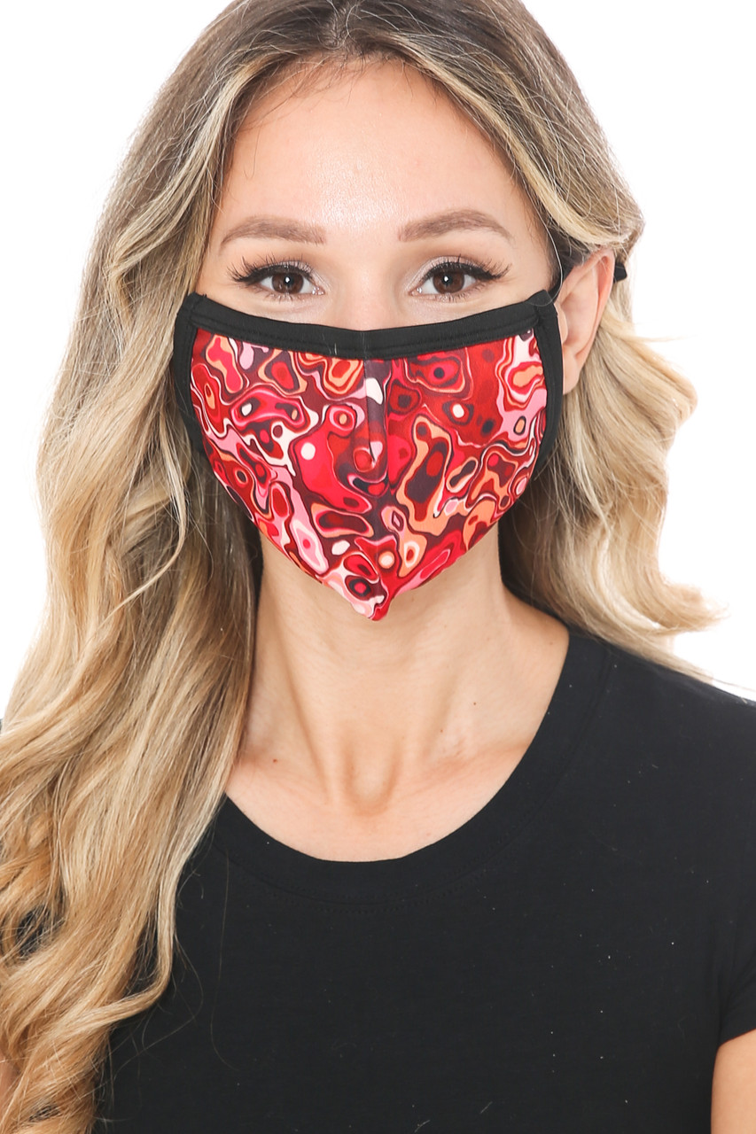 Front view of Red Melt Graphic Print Face Mask featuring an eye-catching abstract print that has a retro melting shape look.
