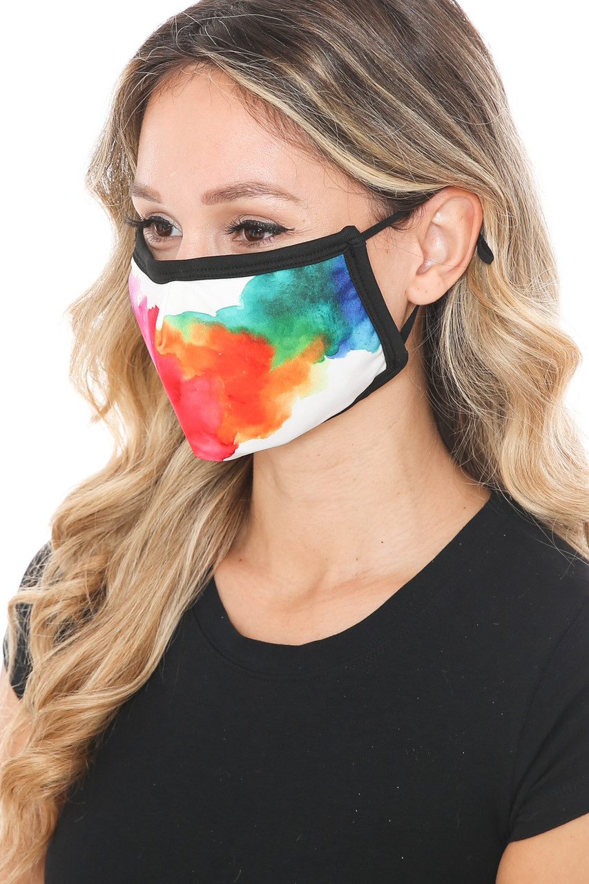 Left side view of Watercolor Splash Graphic Print Face Mask