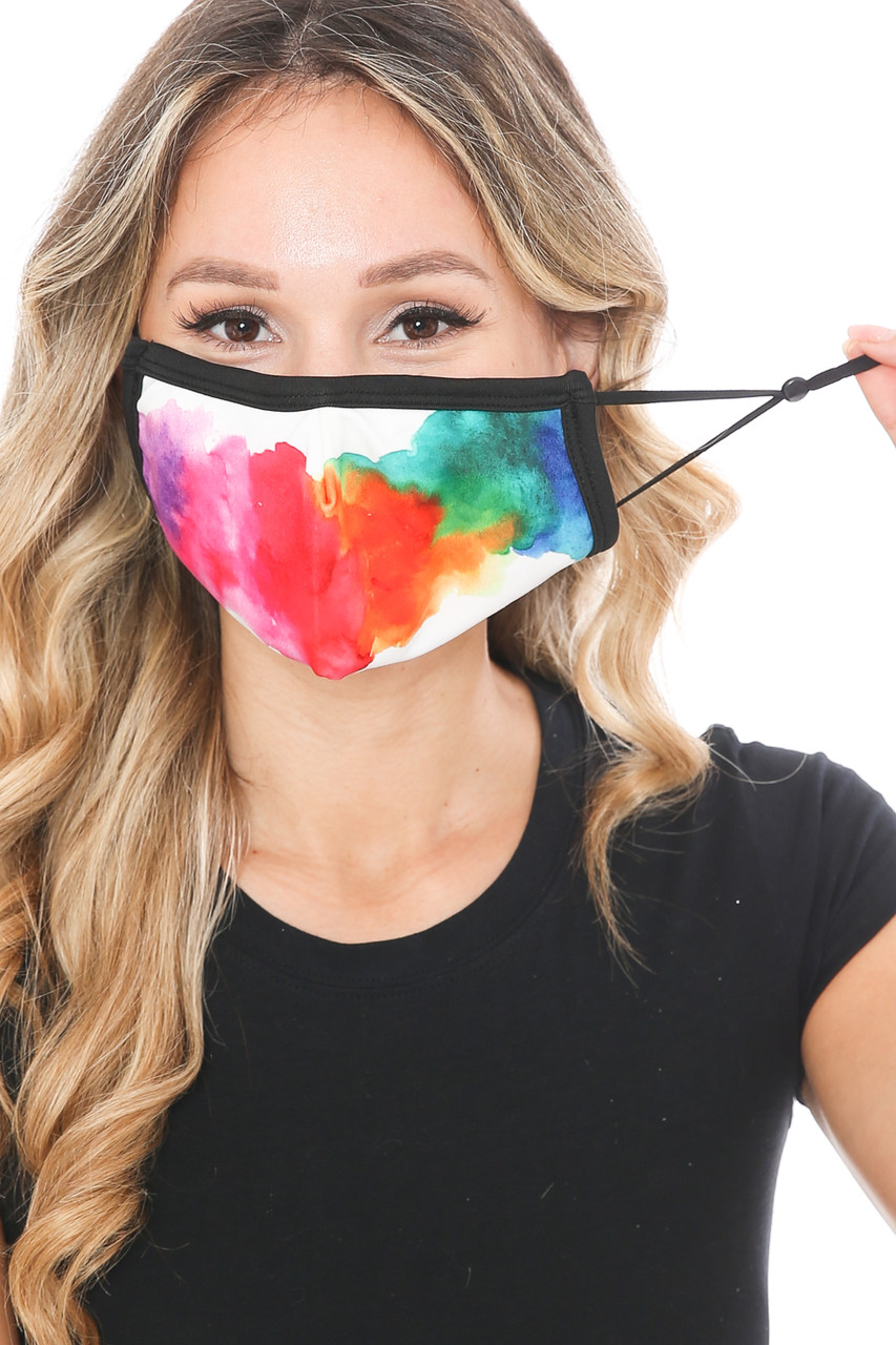 Front view of Watercolor Splash Graphic Print Face Mask showing off the adjustable ear strings.