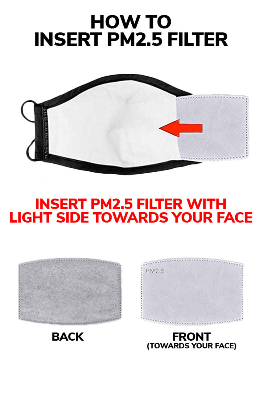 Image illustrating how to insert a PM2.5 filter into rear pocket of Watercolor Splash Graphic Print Face Mask with light side toward your face.
