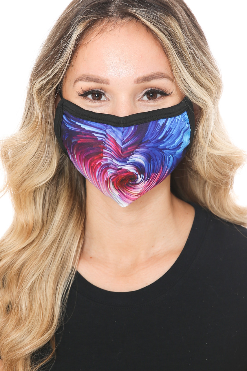 Front view of Berry Brush Stroke Swirl Graphic Print Face Mask showcasing a gorgeous swirl of magenta and blue with a painted look.