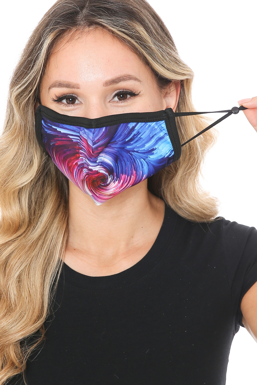 Front view of Berry Brush Stroke Swirl Graphic Print Face Mask with adjustable ear strings.