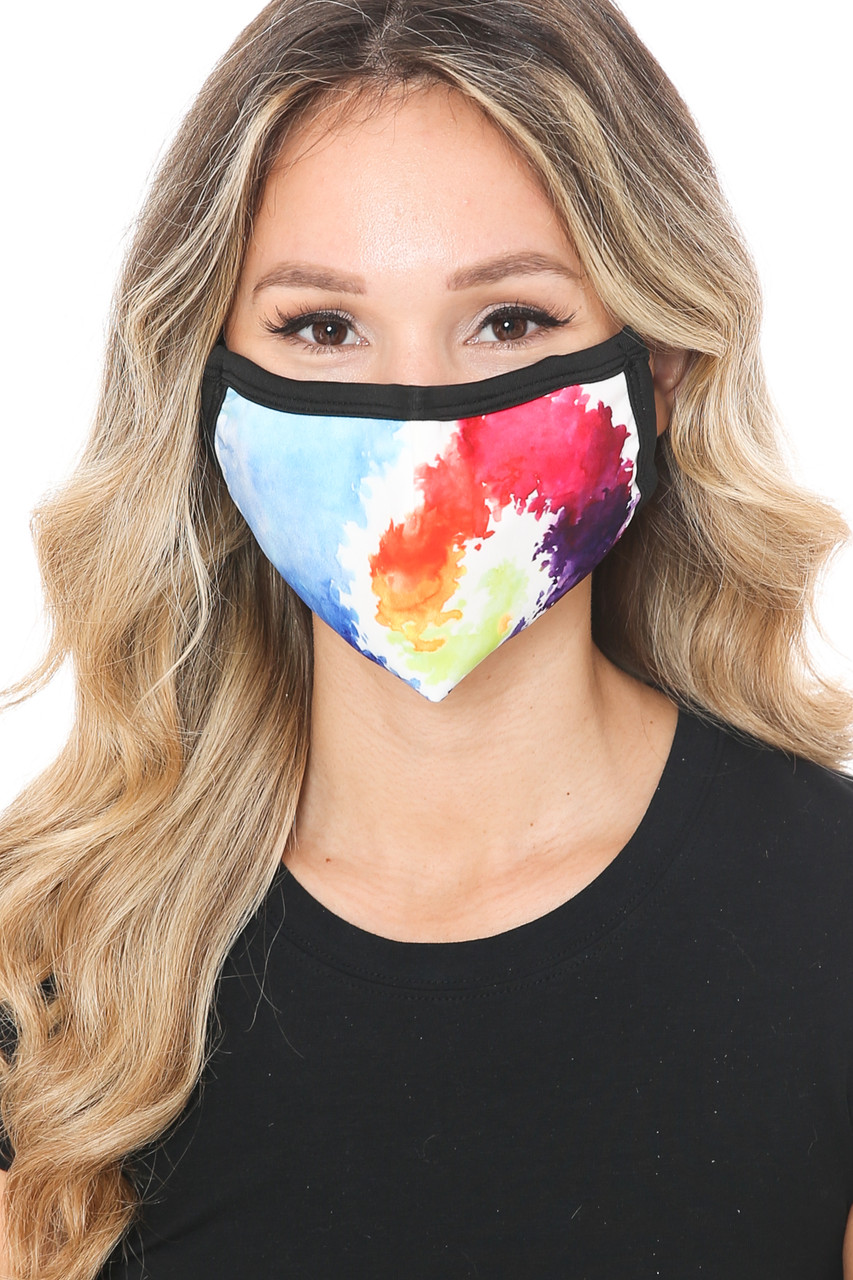 Front view of Watercolor Swirl Graphic Print Face Mask featuring a gorgeous swirl of colors in a painted style.