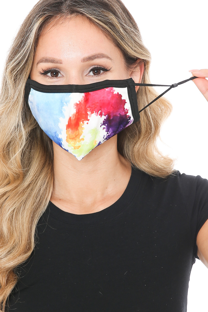 Front view of Watercolor Swirl Graphic Print Face Mask showing the adjustable ear strings.