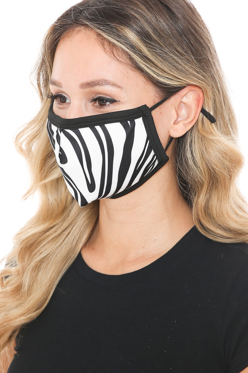 Left side view of Zebra Groove Graphic Print Face Mask