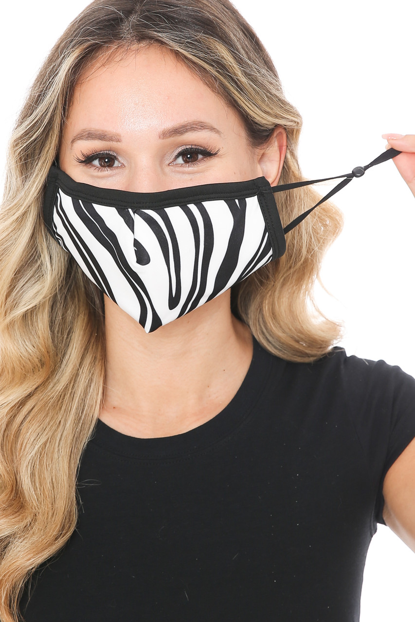 Front view of Zebra Groove Graphic Print Face Mask showing the adjustable ear strings.