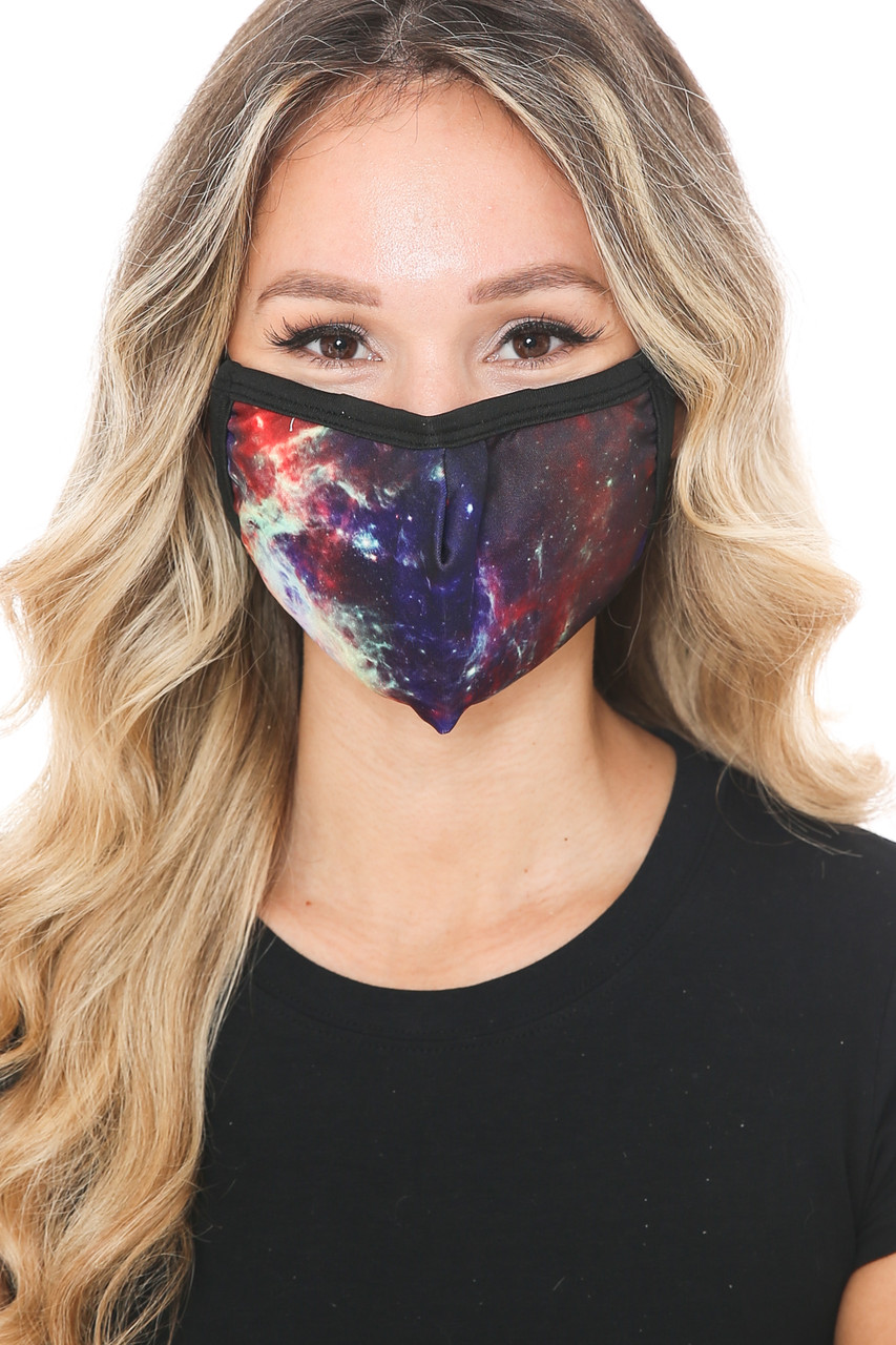 Front view of Odyssey Galaxy Graphic Print Face Mask with a gorgeous space themed design.