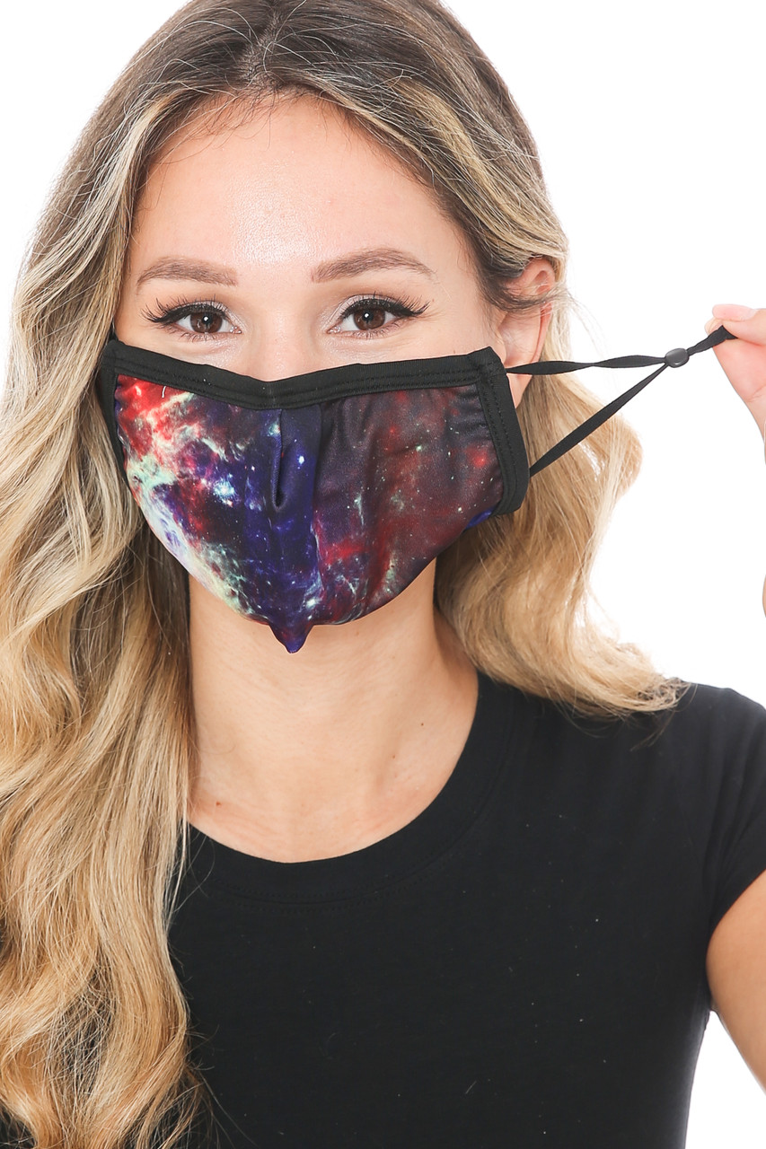 Front view of Odyssey Galaxy Graphic Print Face Mask showing adjustable ear strings.