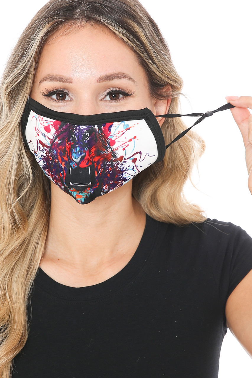 Front view of Painted Lion Graphic Print Face Mask showing off adjustable ear strings.