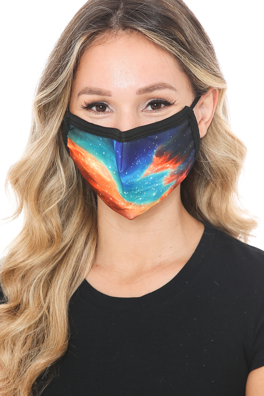 Front view of Stellar Galaxy Graphic Print Face Mask with a colorful space design.