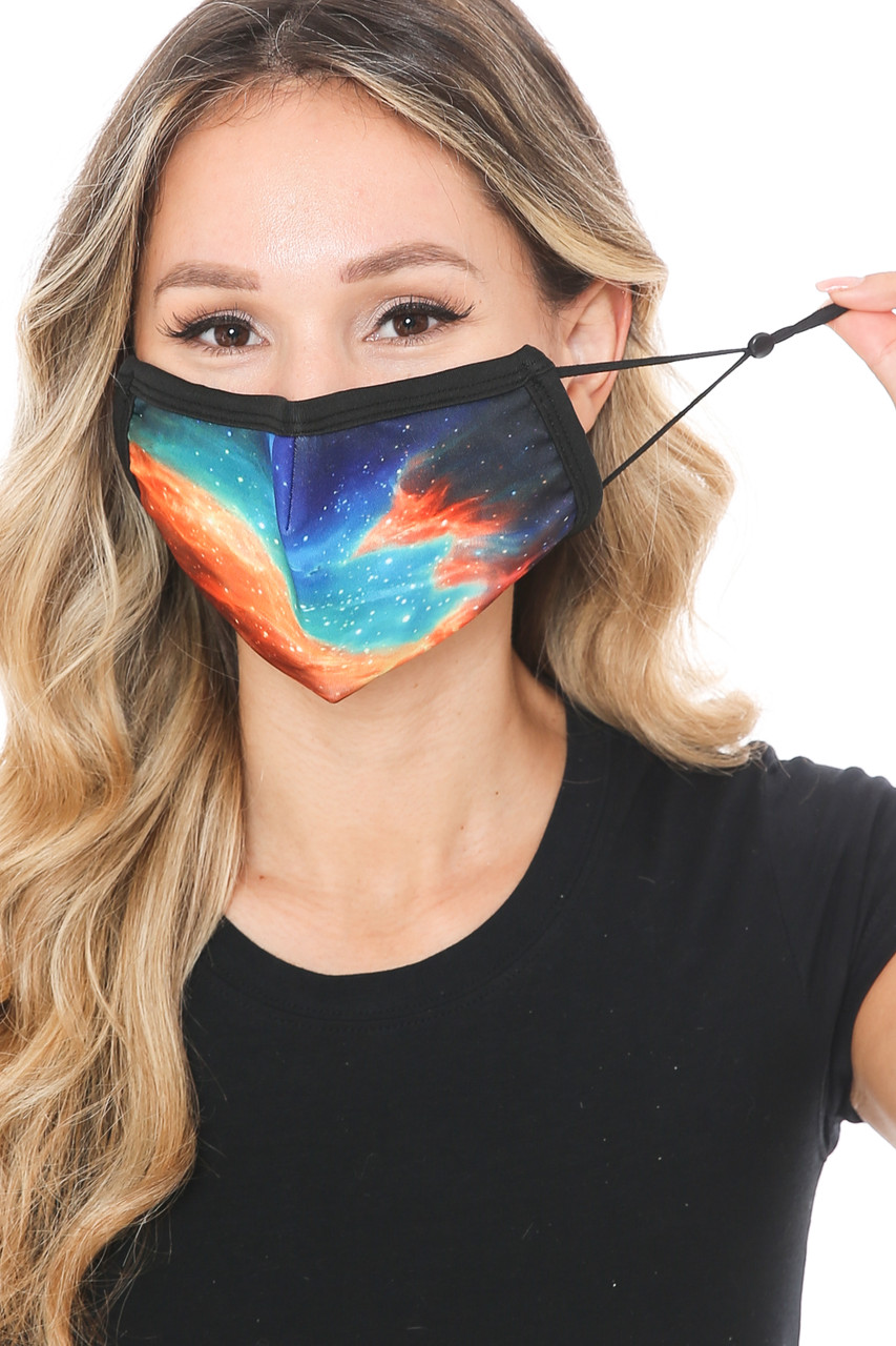 Front view of Stellar Galaxy Graphic Print Face Mask showing adjustable ear strings.