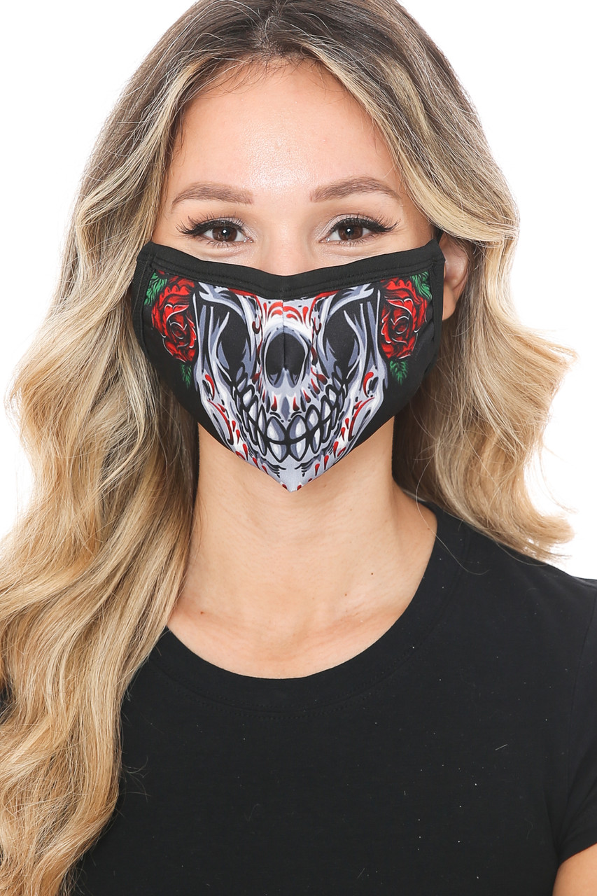 Front view of Sugar Skull Rose Graphic Print Face Mask featuring a skeleton mouth and nose design with two red roses.