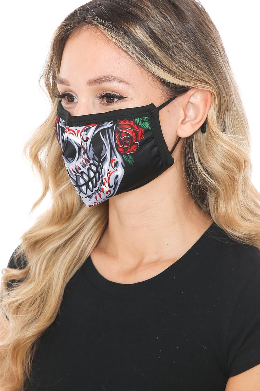 Sugar Skull Rose Graphic Print Face Mask