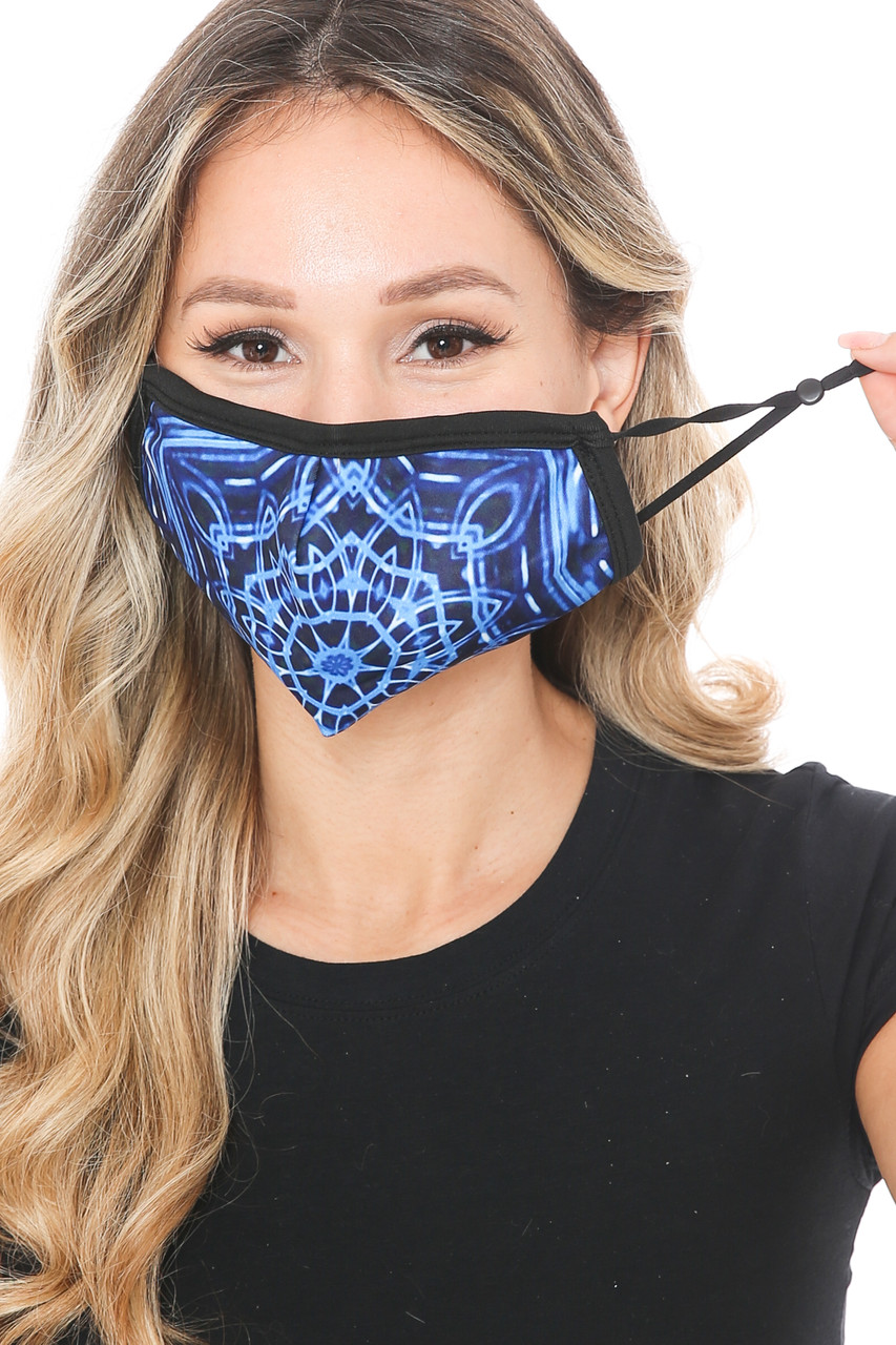 Front view of Blue Mandala Graphic Print Face Mask showing adjustable ear strings.