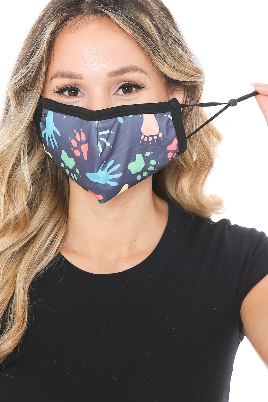 Front view of Animal Tracks Graphic Print Face Mask showing adjustable ear strings.