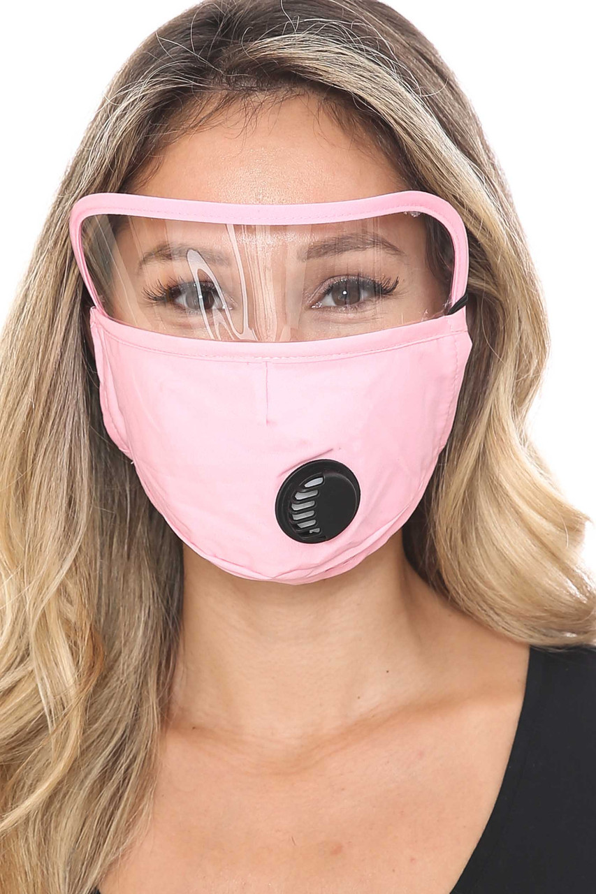 Pink Front Face Mask with Air Valve and Face Shield