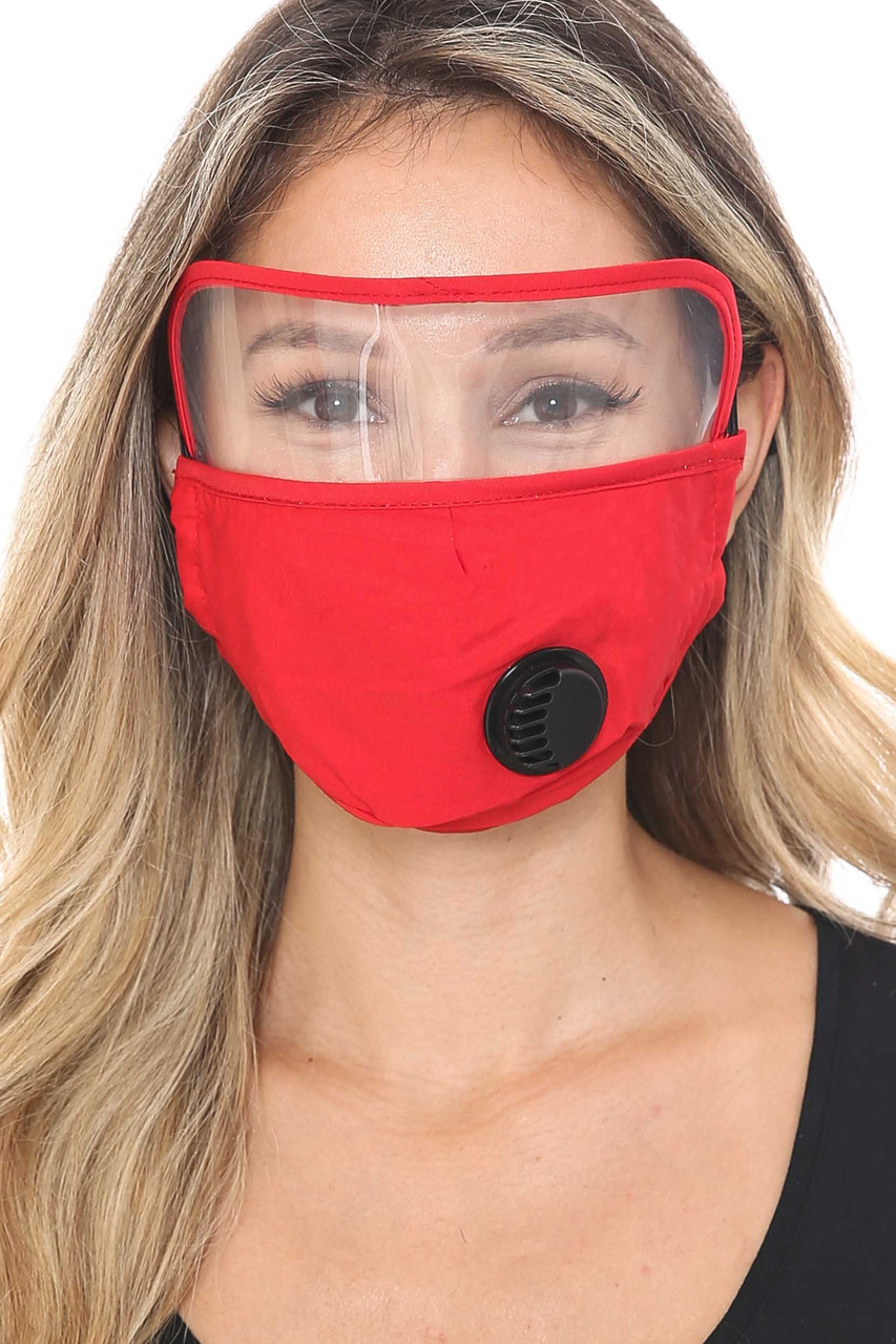Red Front Face Mask with Air Valve and Face Shield