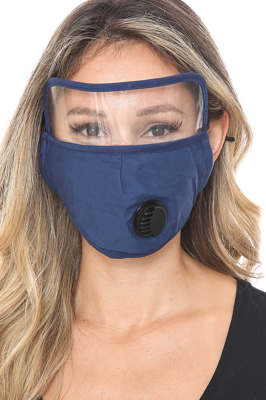 Navy Front Face Mask with Air Valve and Face Shield