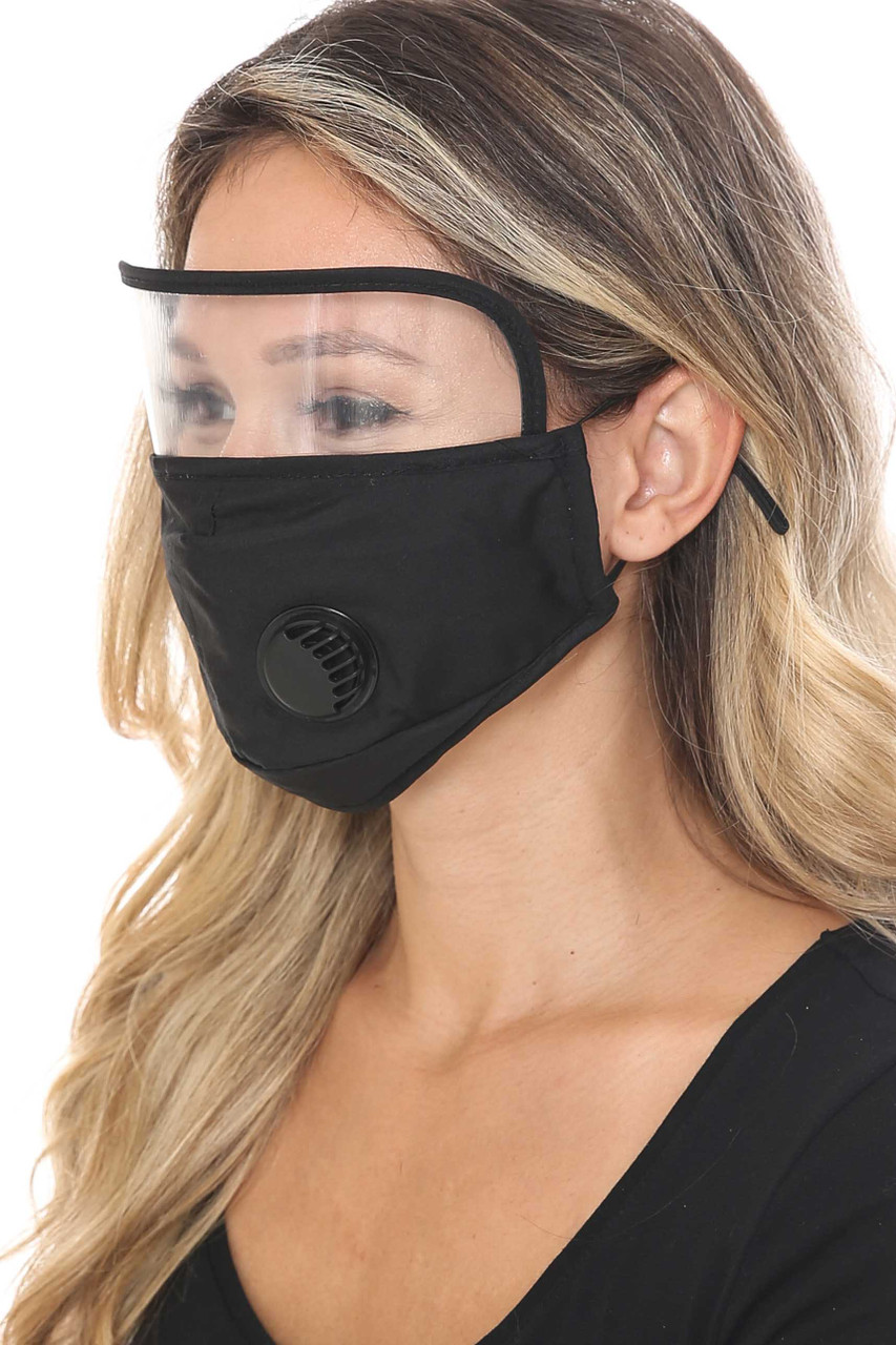 Black Side Face Mask with Air Valve and Face Shield
