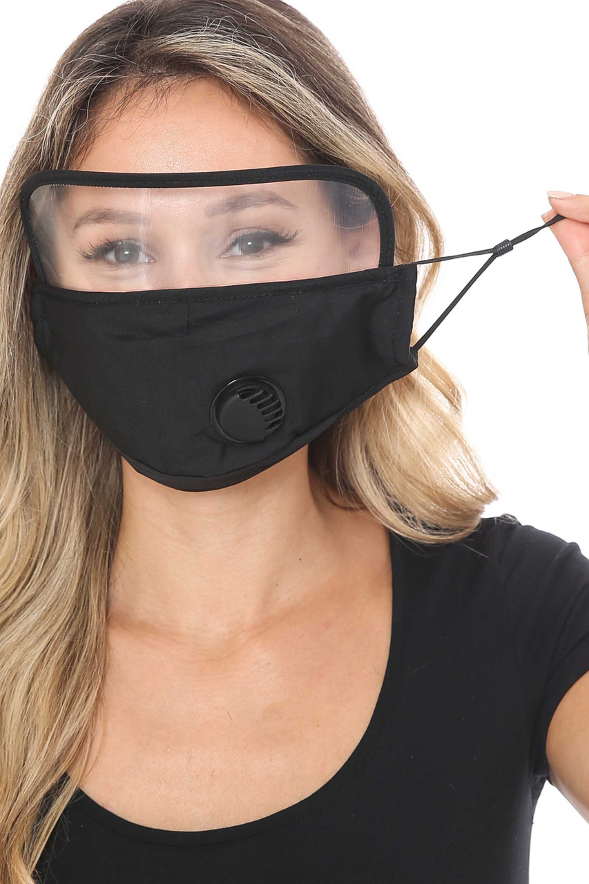 Black Front Showing Ear Strings Face Mask with Air Valve and Face Shield