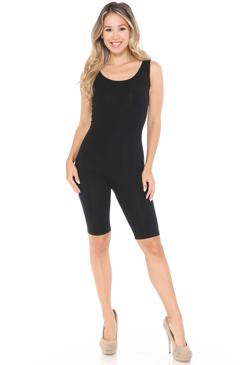 Front Image of Black USA Basic Cotton Thigh High Jumpsuit