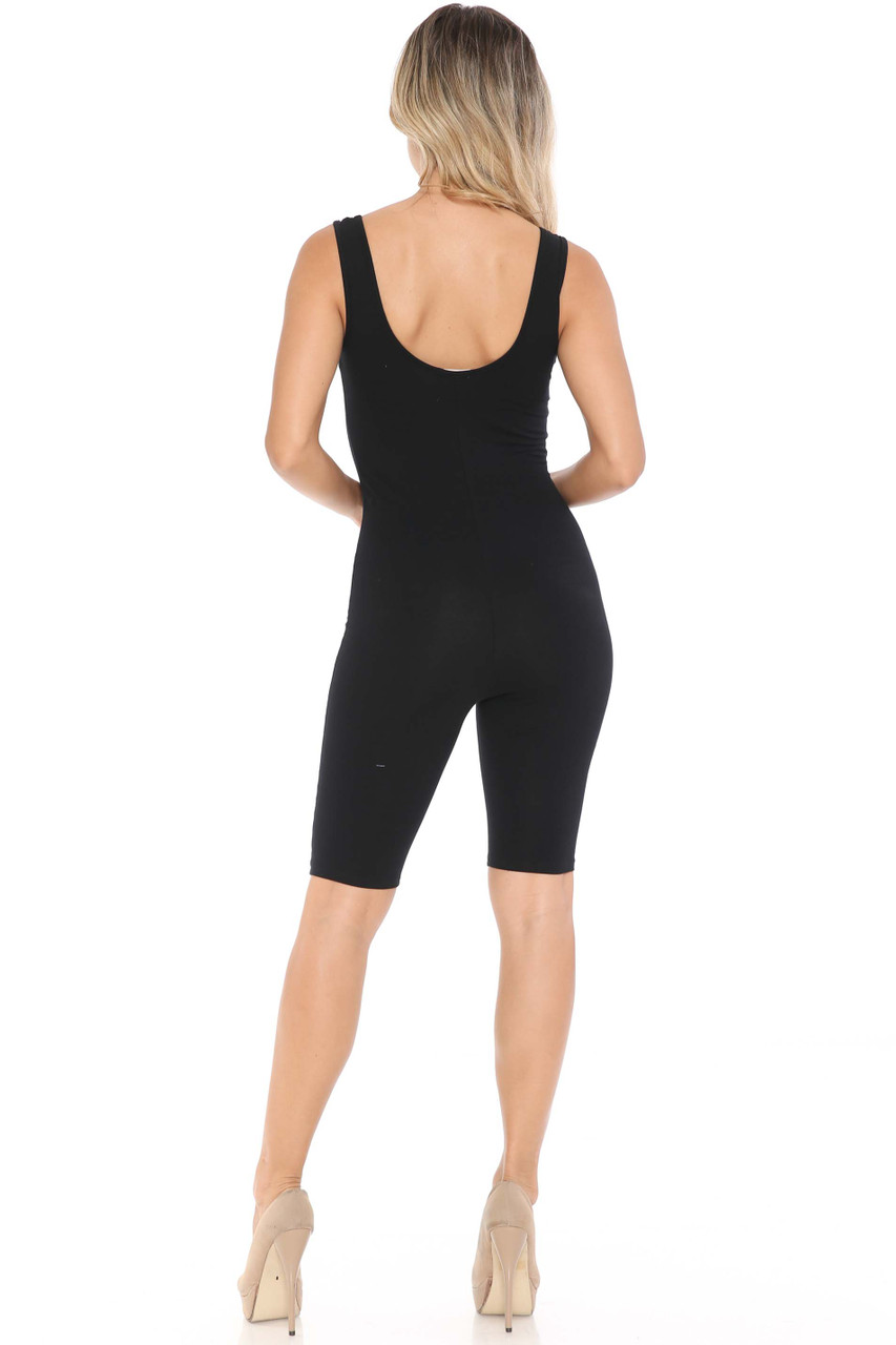 Rear Image of Black USA Basic Cotton Thigh High Jumpsuit
