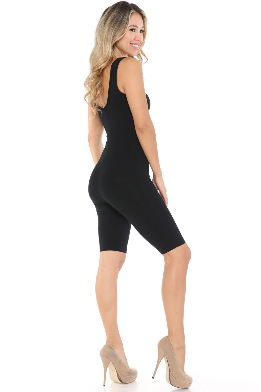 Right Side Image of Black USA Basic Cotton Thigh High Jumpsuit