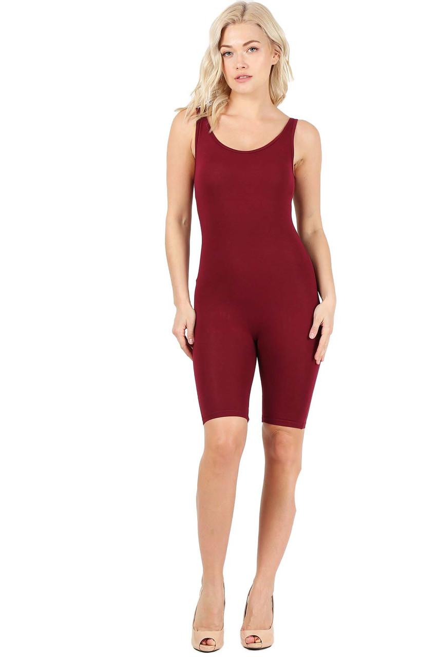 Burgundy USA Basic Cotton Thigh High Jumpsuit