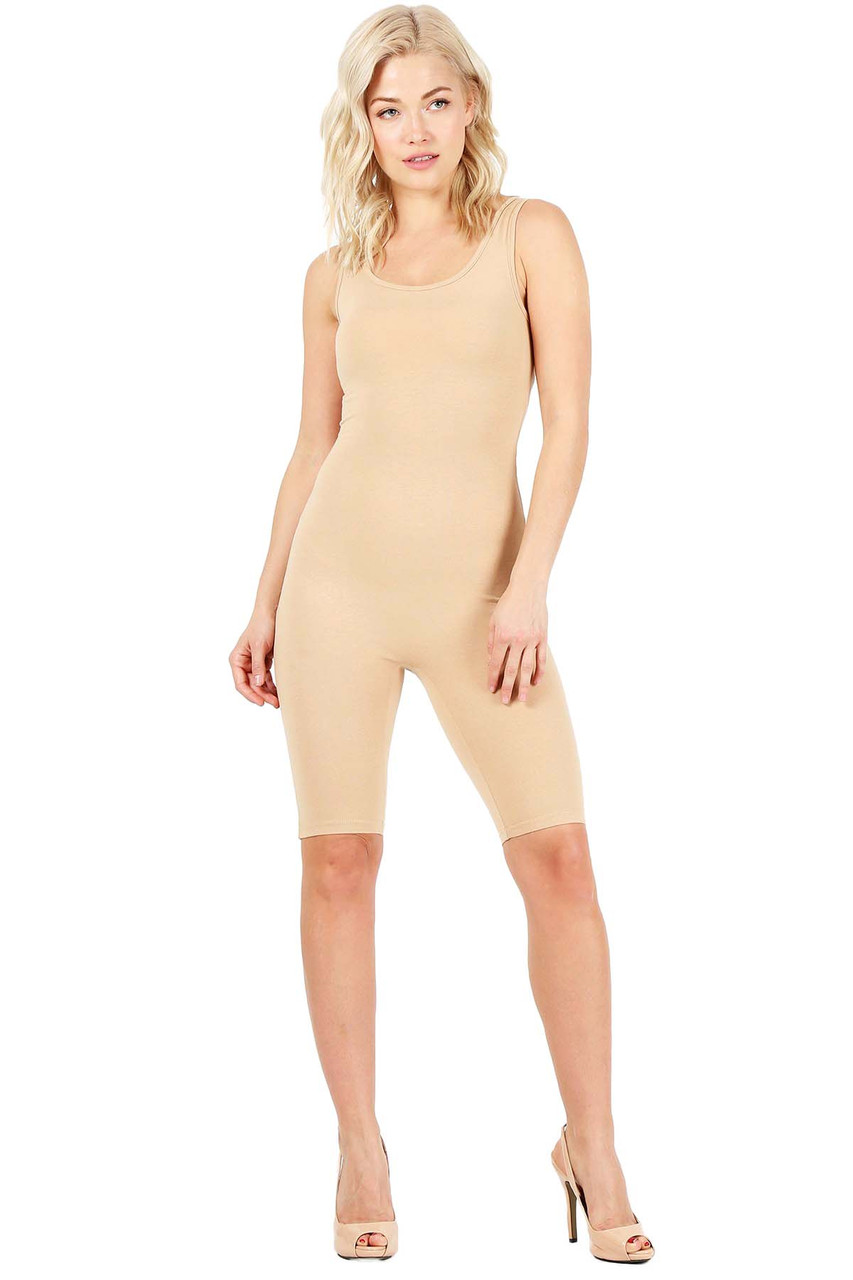 Beige USA Basic Cotton Thigh High Jumpsuit