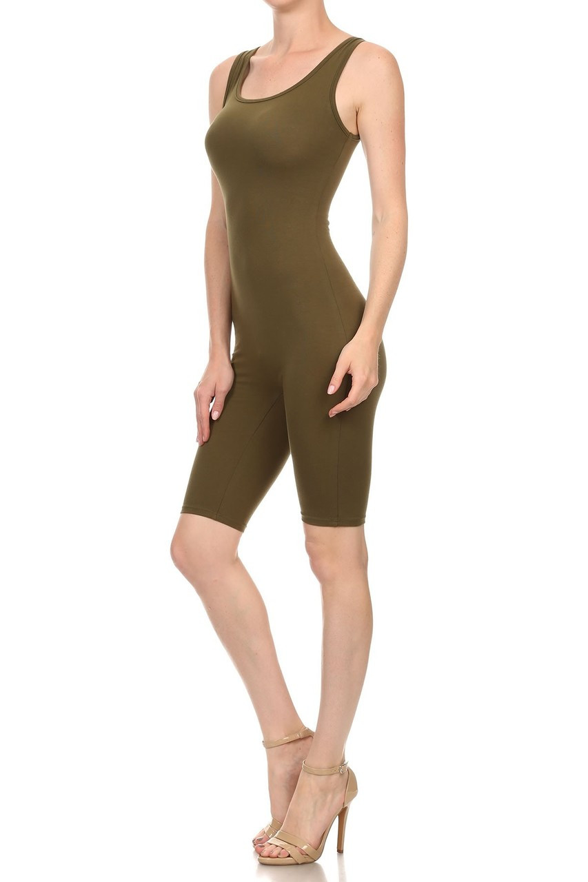 45 degree view of Olive USA Basic Cotton Thigh High Plus Size Jumpsuit