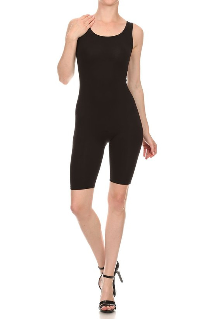 Front view of Black USA Basic Cotton Thigh High Plus Size Jumpsuit