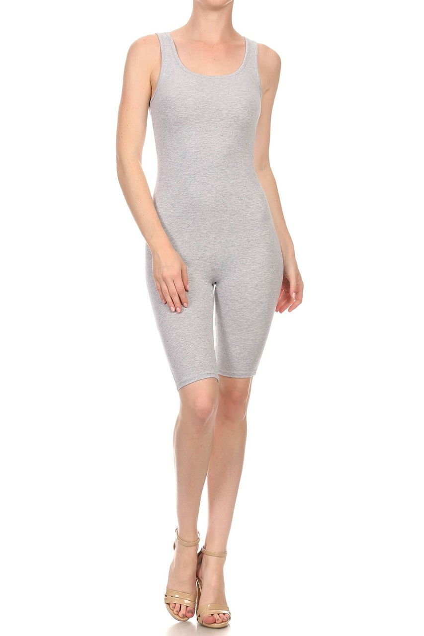 Front view of Heather Gray USA Basic Cotton Thigh High Plus Size Jumpsuit
