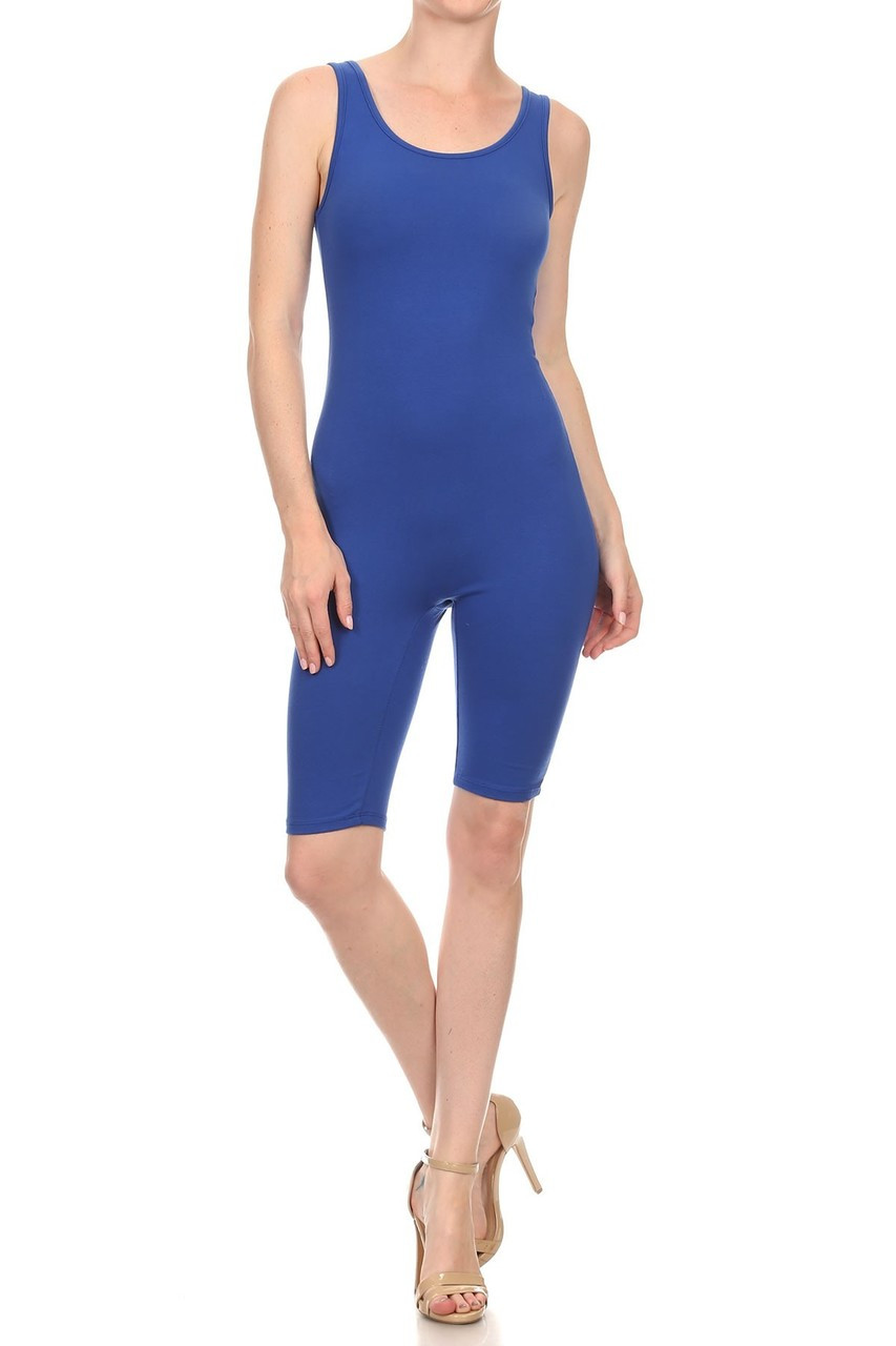 Front view of Blue USA Basic Cotton Thigh High Plus Size Jumpsuit
