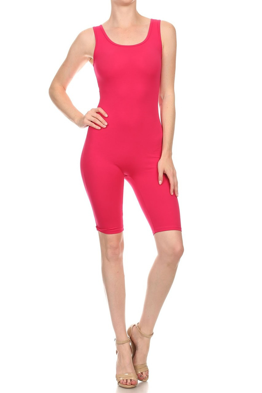 Front view of Fuchsia USA Basic Cotton Thigh High Plus Size Jumpsuit