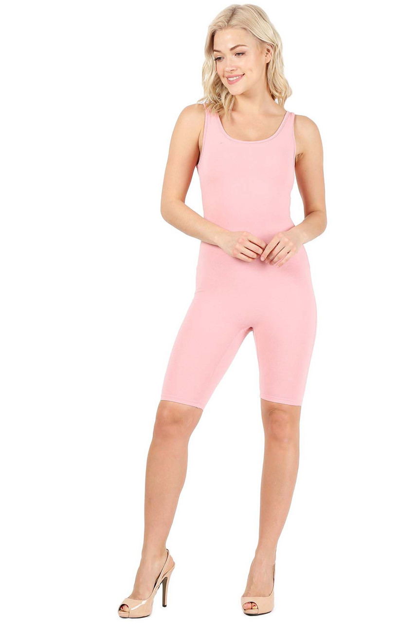 Front view of Pink USA Basic Cotton Thigh High Plus Size Jumpsuit