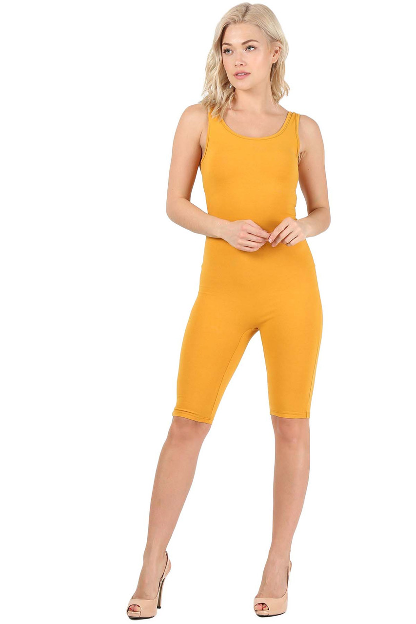 Front view of Mustard USA Basic Cotton Thigh High Plus Size Jumpsuit