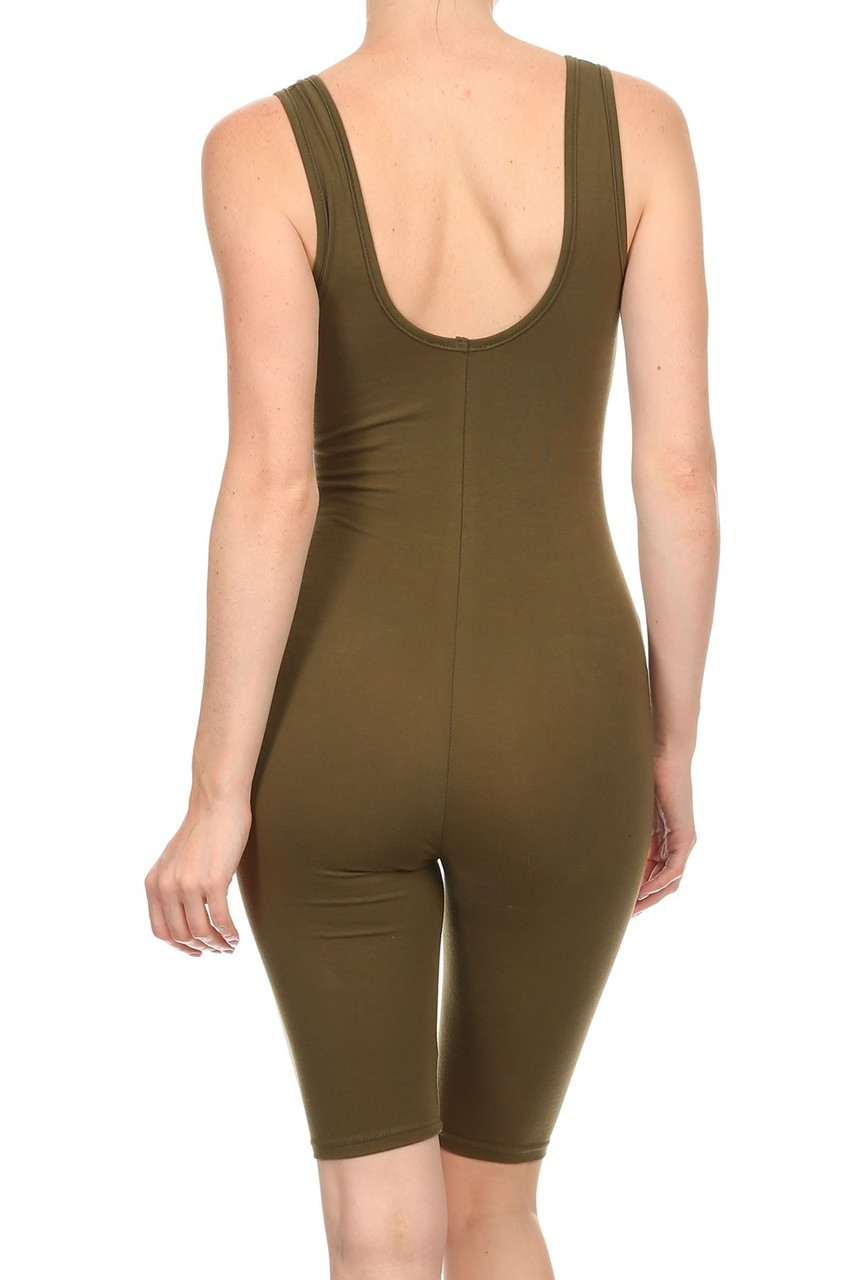 Rear view of Olive USA Basic Cotton Thigh High Plus Size Jumpsuit with a scoop style back.