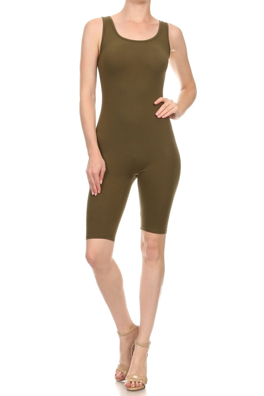 Front view of Olive USA Basic Cotton Thigh High Plus Size Jumpsuit