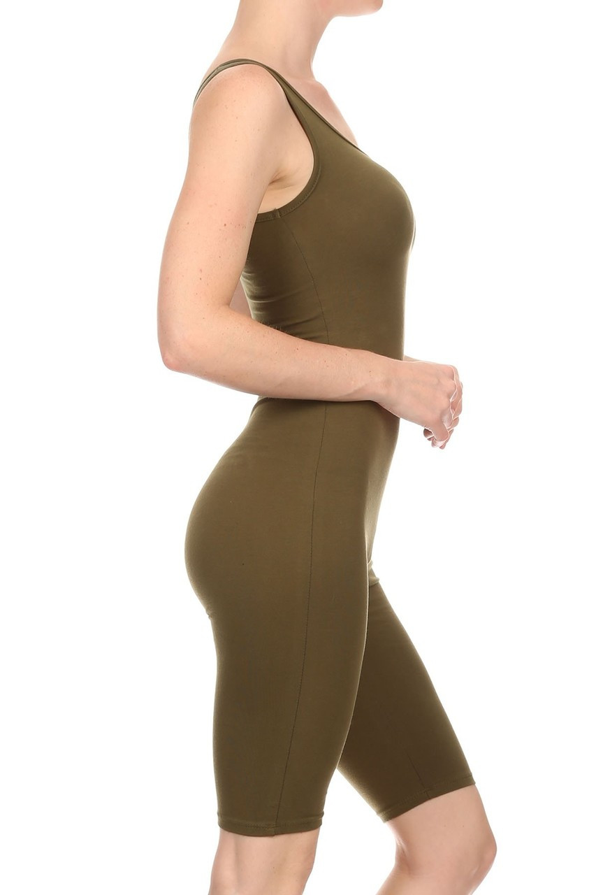 Right side view of Olive USA Basic Cotton Thigh High Plus Size Jumpsuit