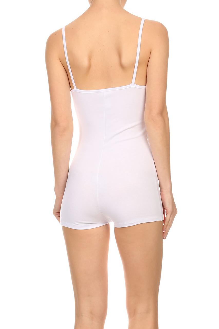 Back view of White USA Basic Cotton Spaghetti Strap Short Jumpsuit