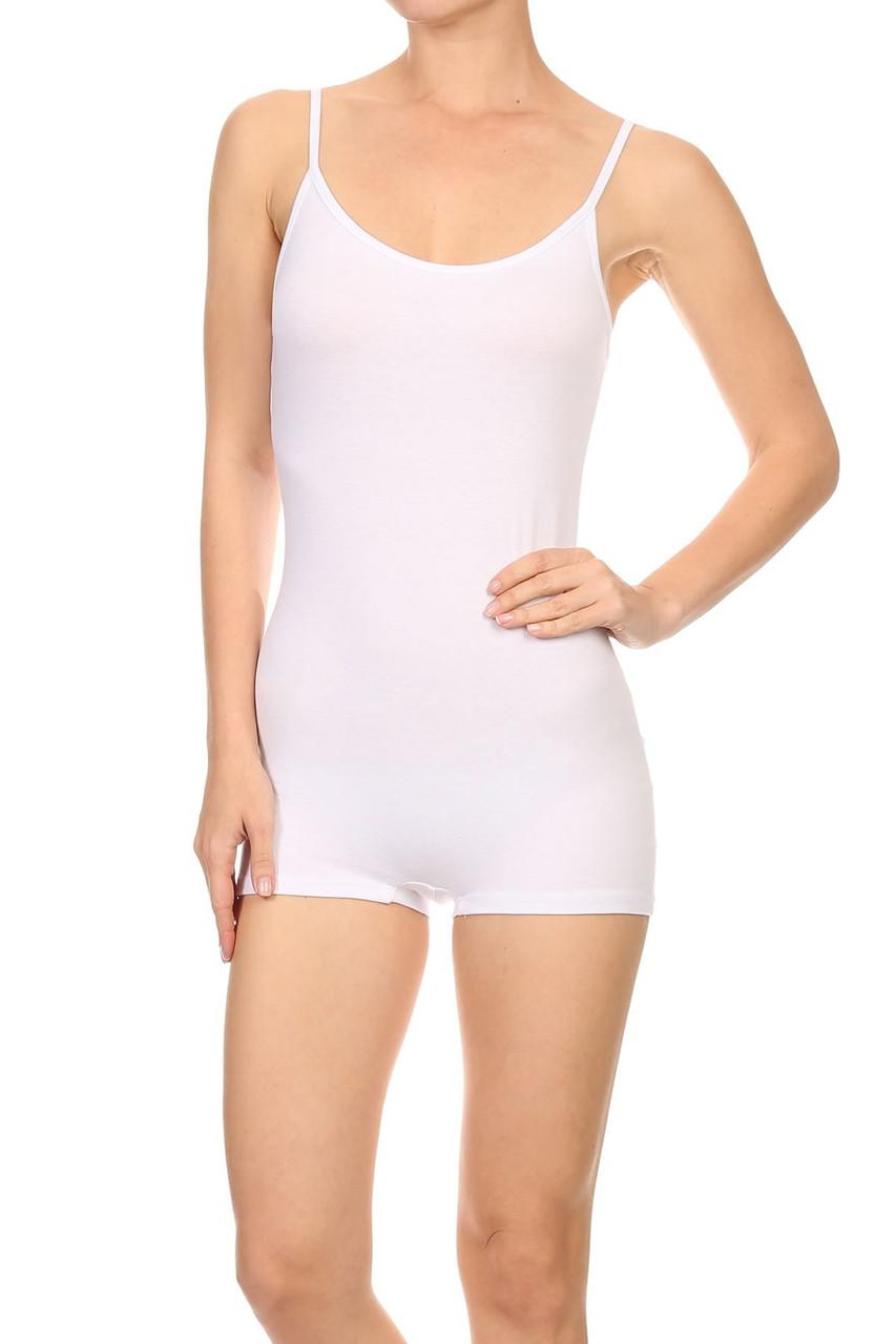 Front view of White USA Basic Cotton Spaghetti Strap Short Jumpsuit