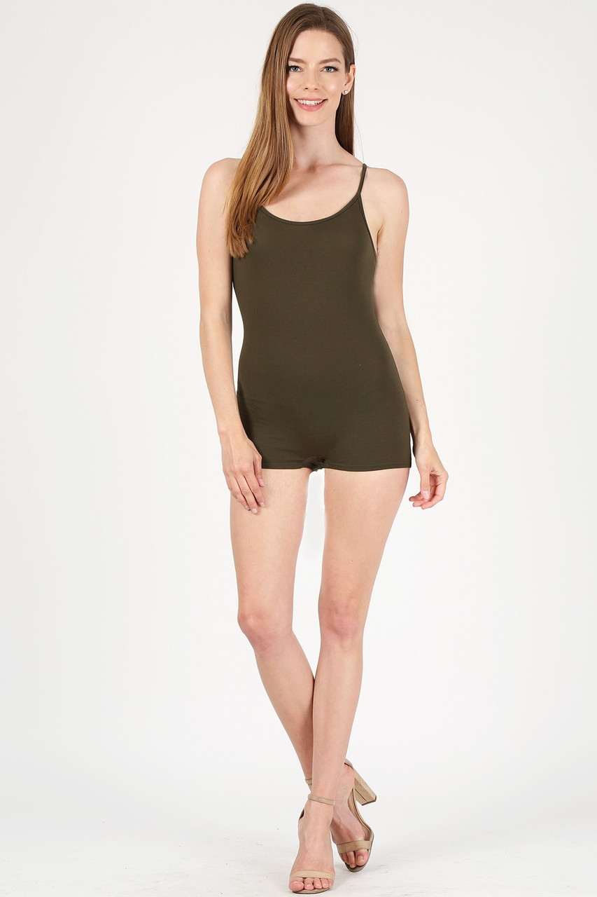 Front view of Olive USA Basic Cotton Spaghetti Strap Short Jumpsuit