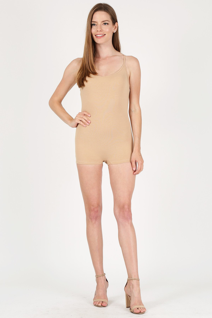Front view of Beige USA Basic Cotton Spaghetti Strap Short Jumpsuit