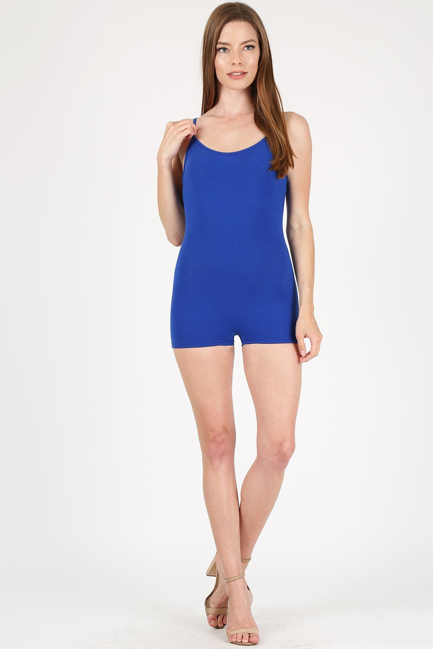 Front view of Blue USA Basic Cotton Spaghetti Strap Short Jumpsuit