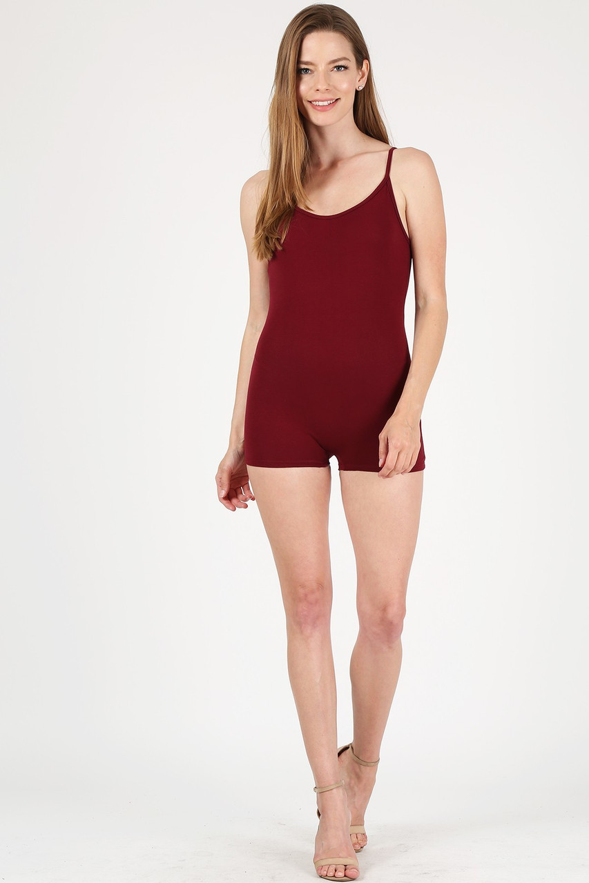 Front view of Burgundy USA Basic Cotton Spaghetti Strap Short Jumpsuit