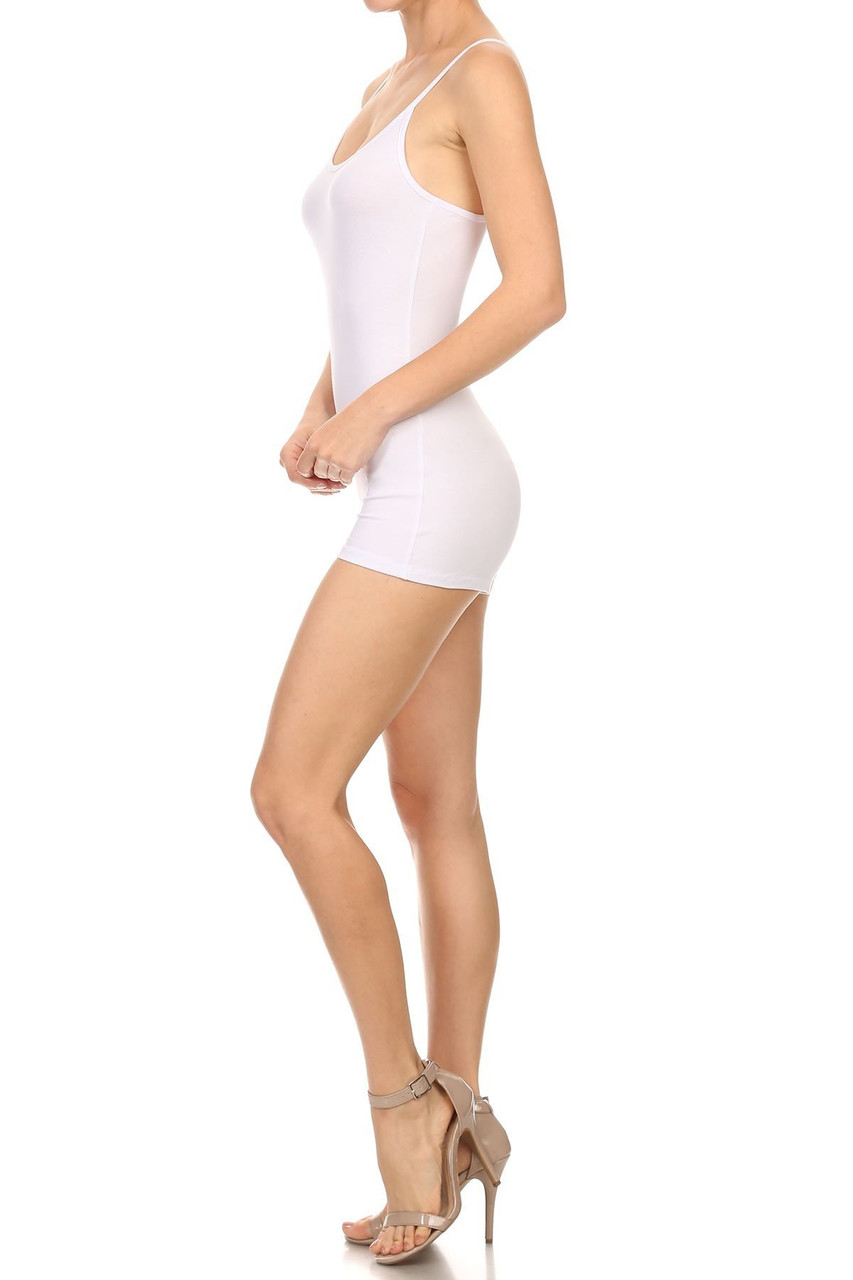 Left side view of White USA Basic Cotton Spaghetti Strap Short Jumpsuit